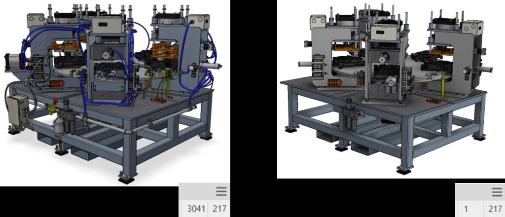 Imagem da comparação do projeto simplificado no Autodesk Factory Design Utilities