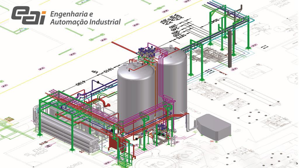 Projeto realizado pela EAI Engenharia e Automação Industrial com AutoCAD Plant 3D