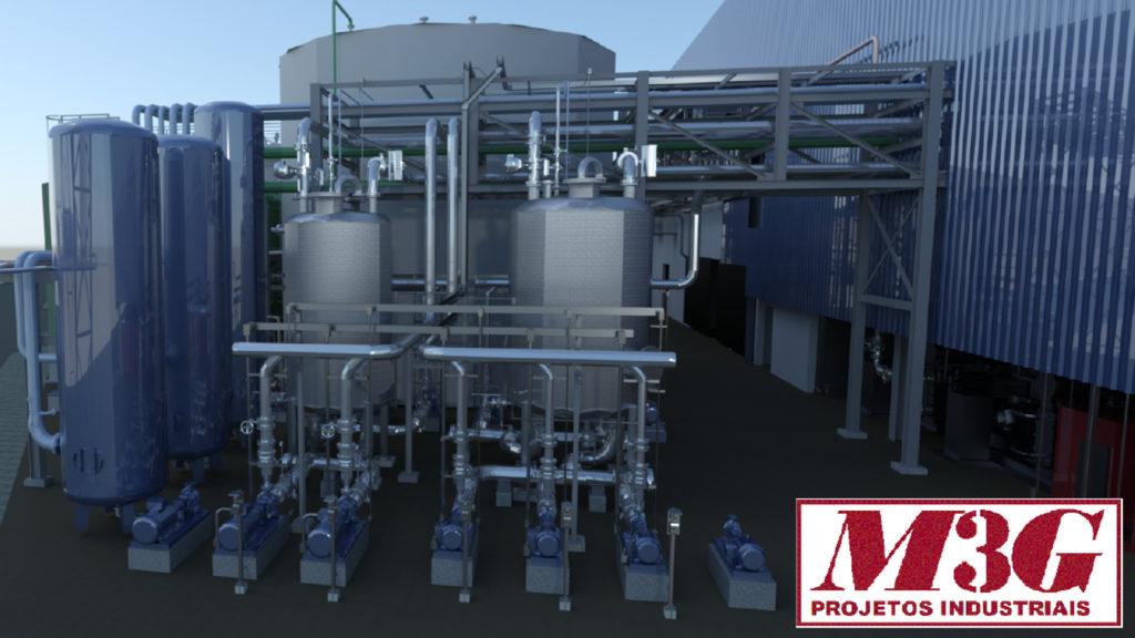 Projeto realizado pela M3G Projetos Industriais com AutoCAD Plant 3D